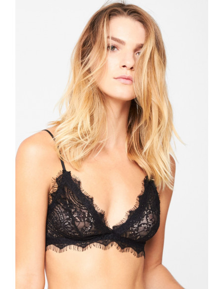 Lace Bra With Trim Black